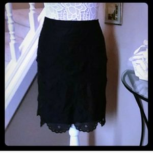 Black eyelet lace tiered ruffle midi skirt
